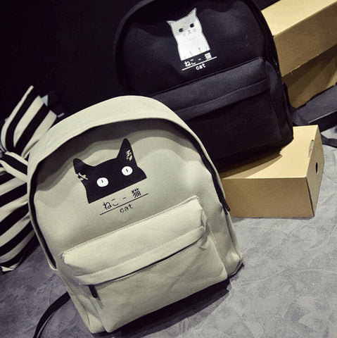 Japanese Cat Print Backpack BP1284 [2 Styles Available] - KAWAII COLLECTIONS