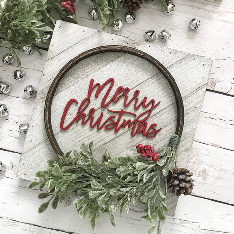 "PRE-ORDER Merry Christmas Hoop Wreath Sign- 10x10"" - CoastalCraftyMama"