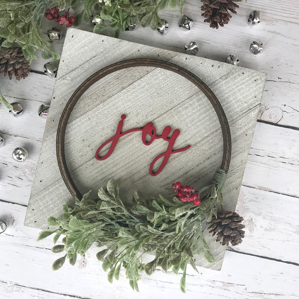 "PRE-ORDER Joy Hoop Wreath Sign- 10x10"" - CoastalCraftyMama"