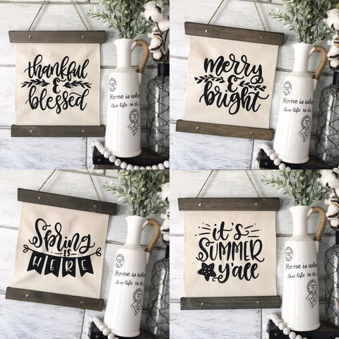 "Seasonal Canvas Banner Bundle Pack Set of 4- 12x14"" - CoastalCraftyMama"