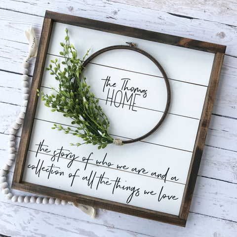 Personalized Shiplap Wreath Sign- 19x19""