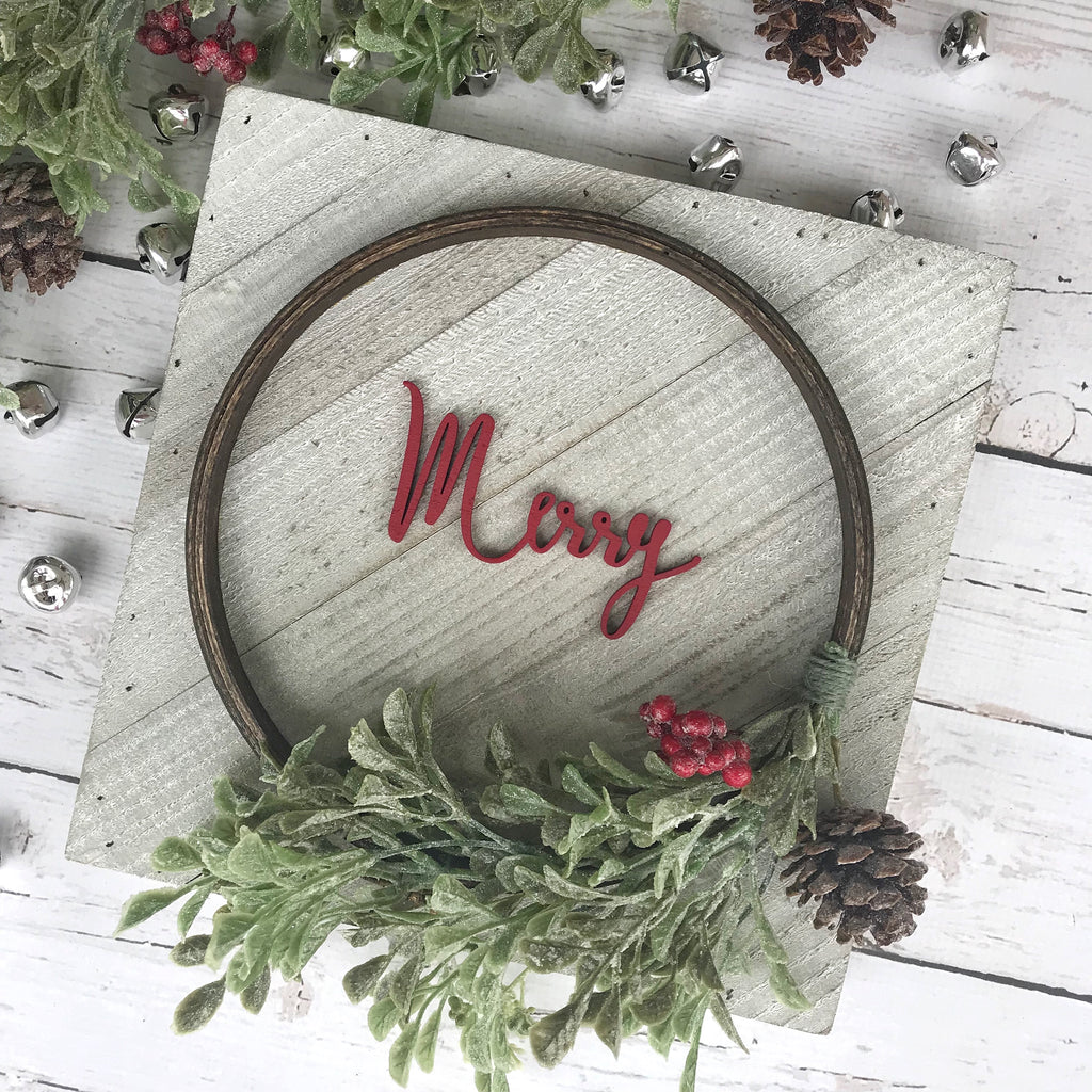 "PRE-ORDER Merry Hoop Wreath Sign- 10x10"" - CoastalCraftyMama"