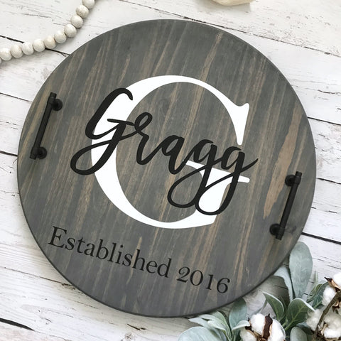 Personalized Wood Serving Tray- Gray finish - CoastalCraftyMama