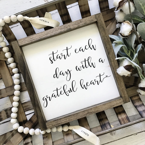 "Start Each Day With a Grateful Heart and Today is a Good Day Framed Wood Sign Set of 2- 11x11"" each - CoastalCraftyMama"