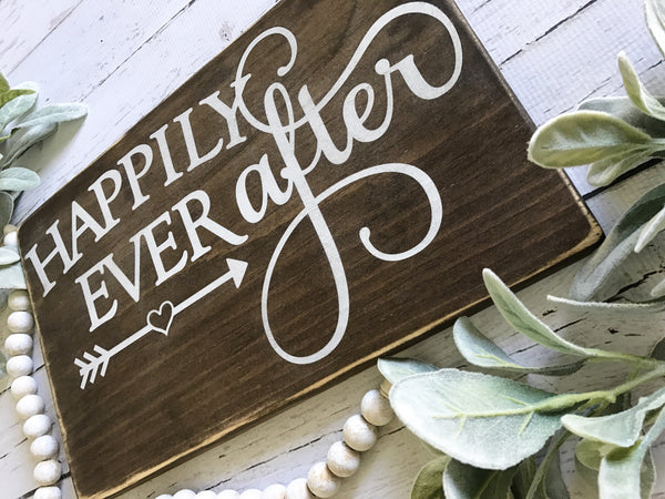 Happily ever after wood sign - CoastalCraftyMama