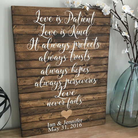 Love is Patient 1 Corinthians Planked Wood Sign - CoastalCraftyMama