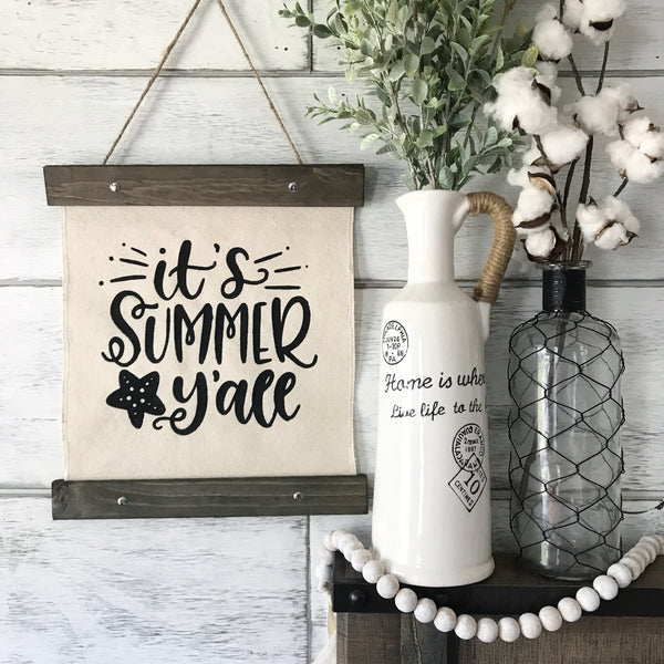 "Summer Canvas Banner- 12x14"" - CoastalCraftyMama"