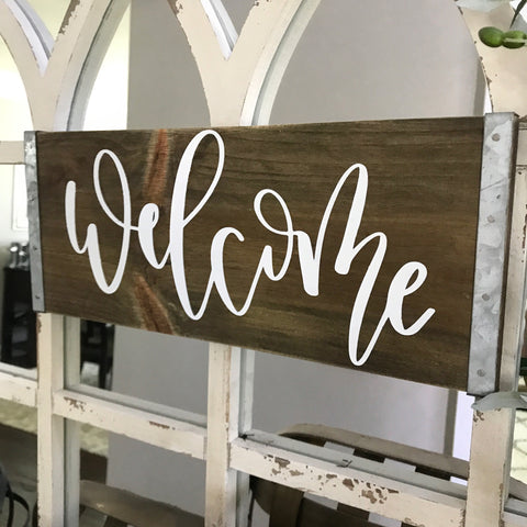 "Welcome Industrial Farmhouse Sign- 15x6"" - CoastalCraftyMama"