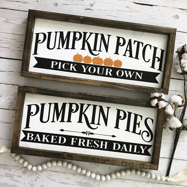 "Pumpkin Patch Wood Sign 9x20"" White - CoastalCraftyMama"
