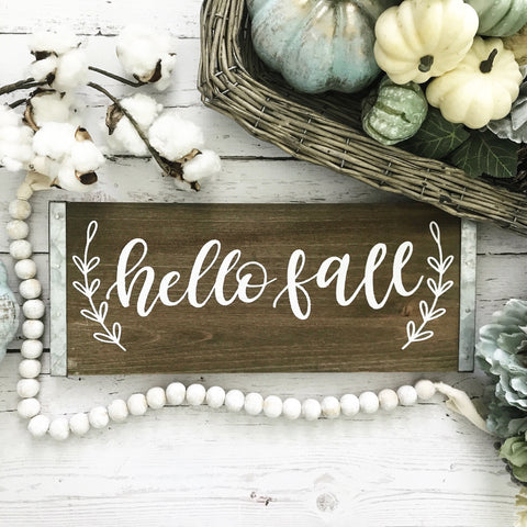 Hello Fall Rustic Sign- 15x6""