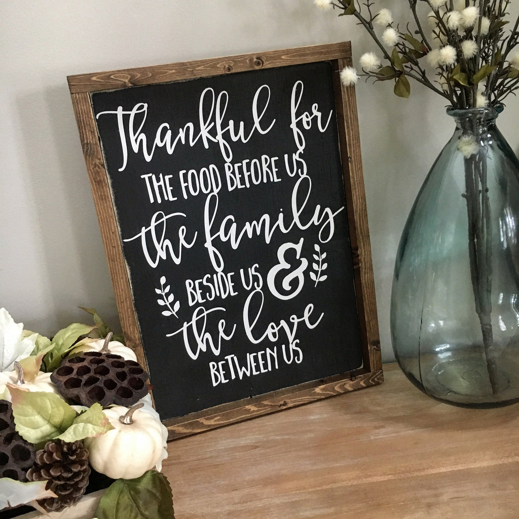 "Thankful for the Food Before Us Wood Sign 13x17.25"" Black"