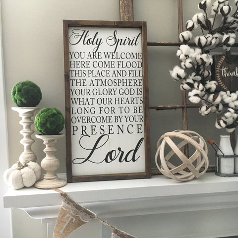 Holy Spirit You are Welcome Here Framed Wood Sign - CoastalCraftyMama