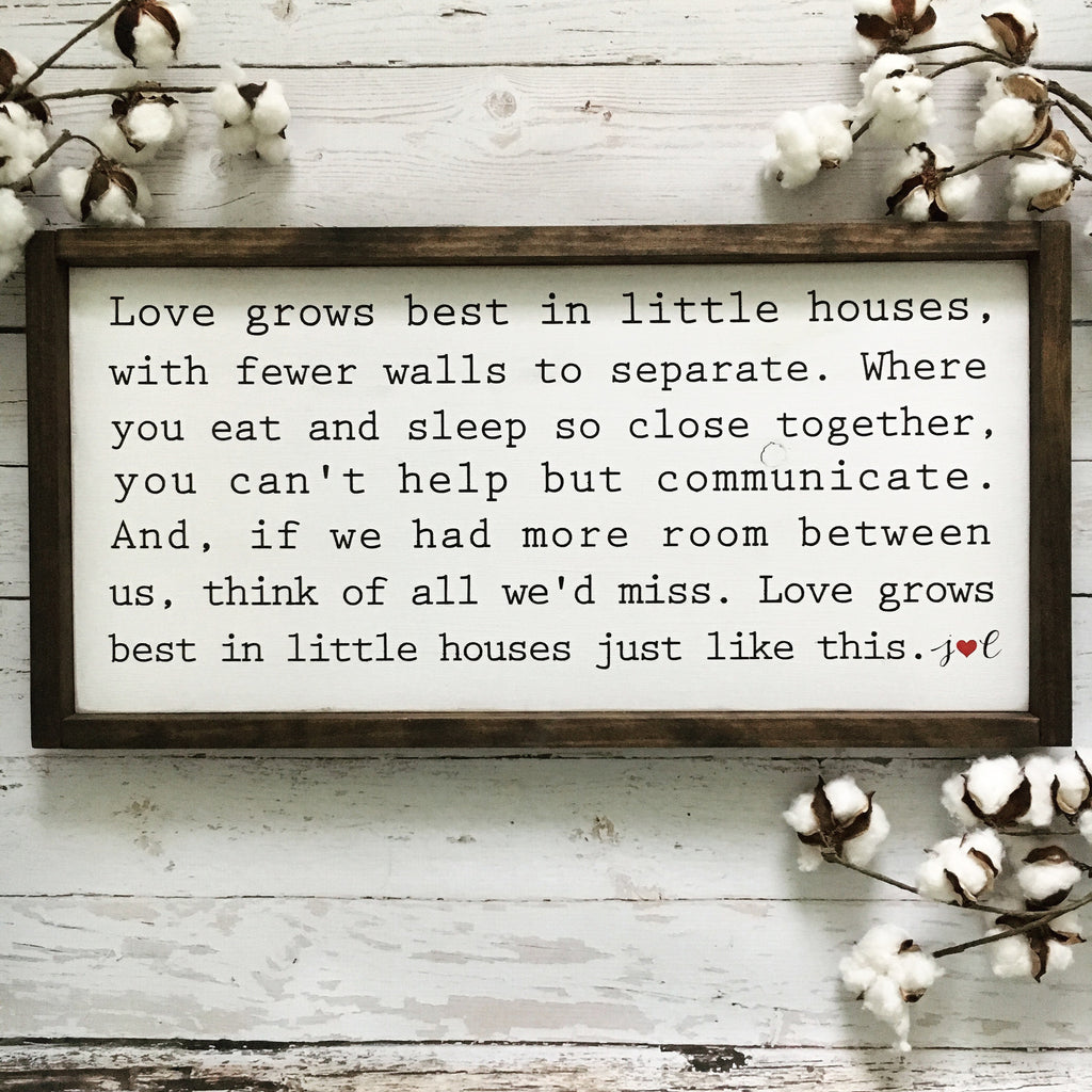 Download Love Grows Best in Little Houses Framed Wood Sign ...