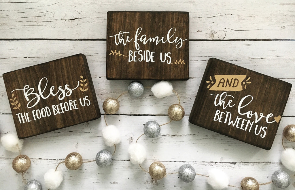 Bless the Food Before Us Mini Sign Trio - CoastalCraftyMama