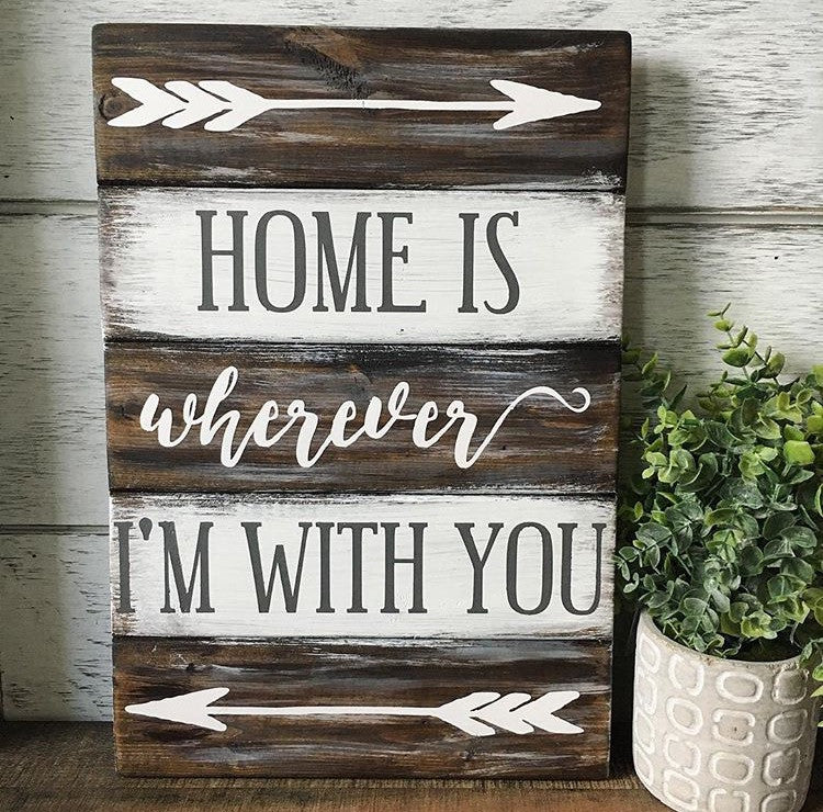 Home Is Wherever I'm With You Planked Wood Sign - CoastalCraftyMama