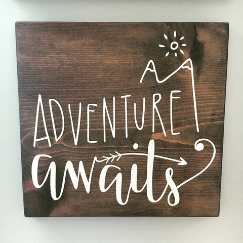 Adventure Awaits Wood Sign - CoastalCraftyMama