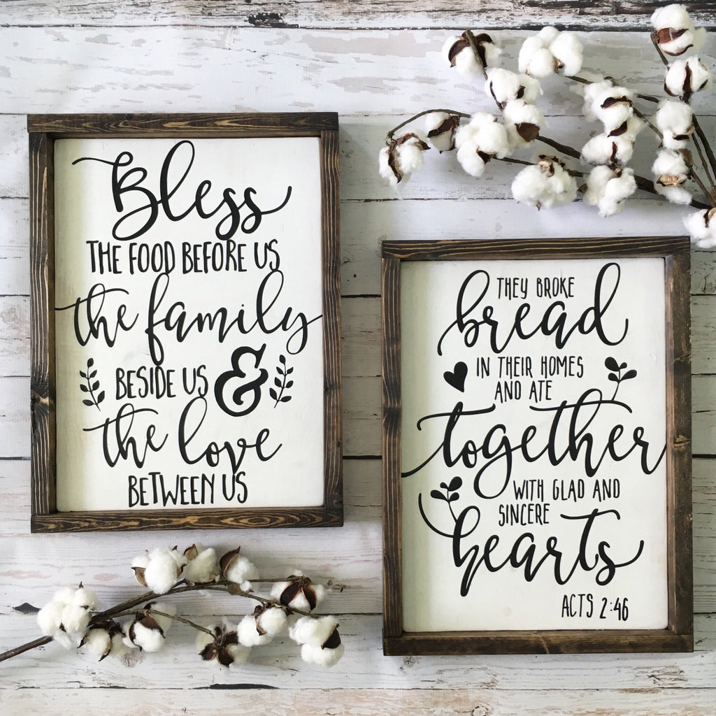 Bless The Food Before Us Wood Sign 14x1725 White