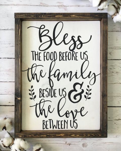 "Bless the Food Before Us Wood Sign 13x17.25"" White - CoastalCraftyMama"