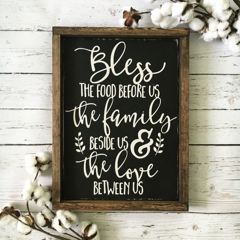 "Bless the Food Before Us Wood Sign 14x17.25"" Black - CoastalCraftyMama"