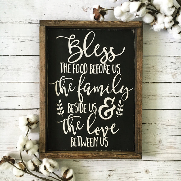 "Bless the Food Before Us Wood Sign 13x17.25"" Black - CoastalCraftyMama"