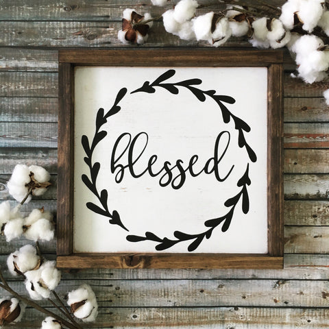 "Blessed Wood Sign 13x13"" White"