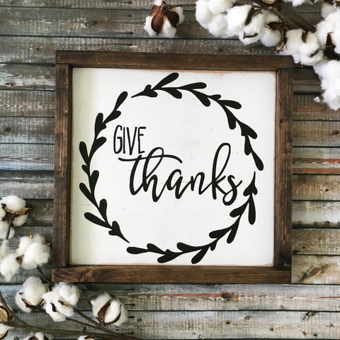 Give Thanks Wood Sign white - CoastalCraftyMama