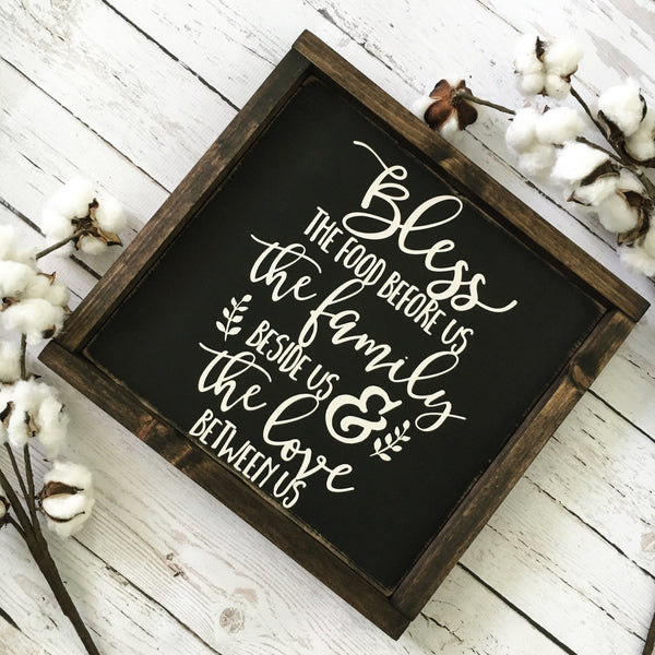 "Bless the Food Before Us Wood Sign 13x13"" Black - CoastalCraftyMama"