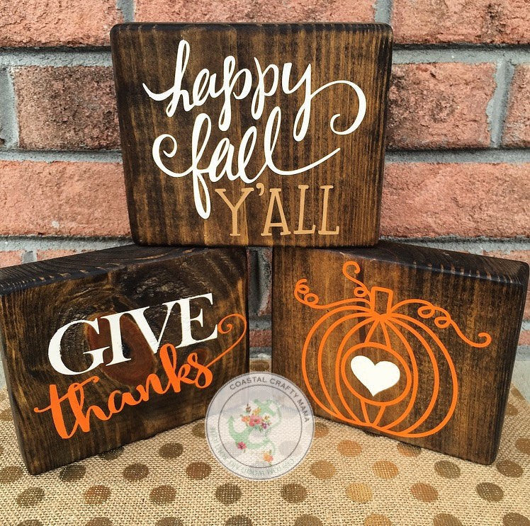 Fall Wood Block Set Trio - CoastalCraftyMama