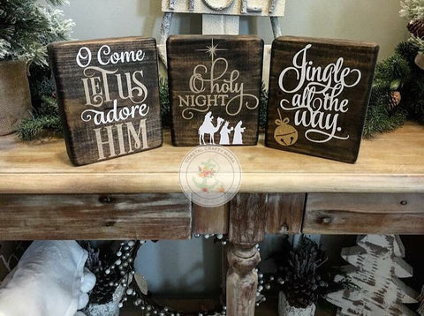 Christmas Wood Block Set Trio - CoastalCraftyMama