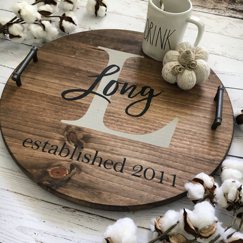 Personalized Wood Serving Tray - CoastalCraftyMama