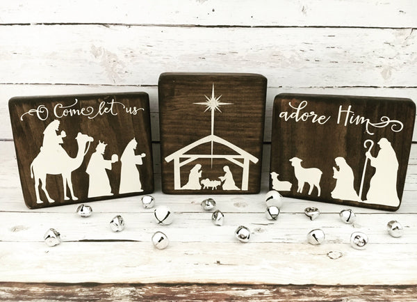 Nativity Mini Sign Trio - CoastalCraftyMama