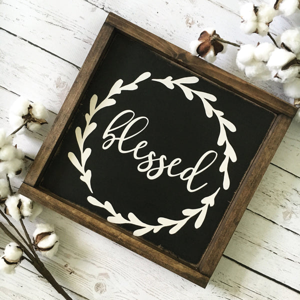 "Blessed Wood Sign 13x13"" Black - CoastalCraftyMama"