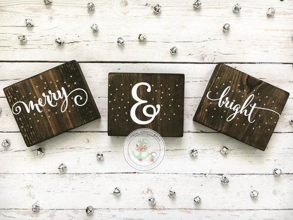 Merry and Bright Mini Sign Set - CoastalCraftyMama