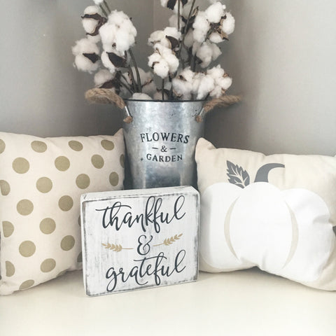 Thankful and Grateful Mini Block Sign - CoastalCraftyMama