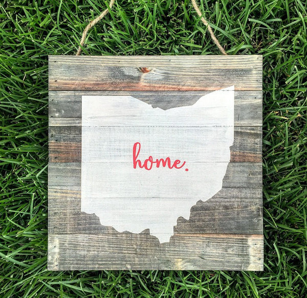 Ohio State home rustic wood plank pallet sign | Ohio State Buckeyes | Ohio State sign | Ohio sign | Ohio wood sign | Buckeyes | State sign - CoastalCraftyMama