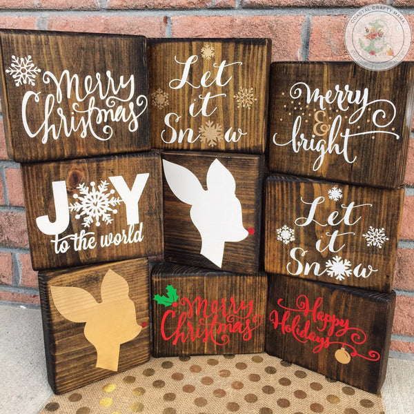 Christmas wood block set, Christmas Sign, Christmas decor, Christmas blocks, Seasonal home decor,  Christmas signs, blocks - CoastalCraftyMama