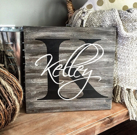 "Personalized Family Name Sign 10x10"" - CoastalCraftyMama"