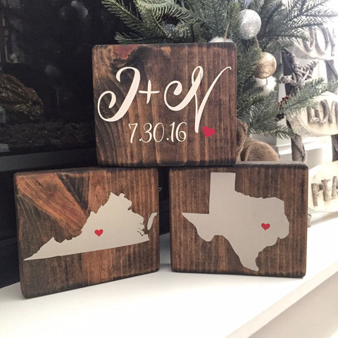 Personalized Name and State Blocks - CoastalCraftyMama