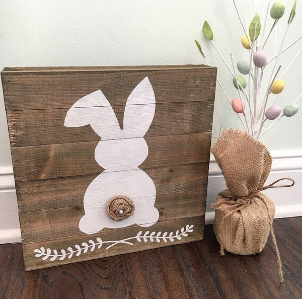 Rustic Easter Bunny Sign Natural - CoastalCraftyMama