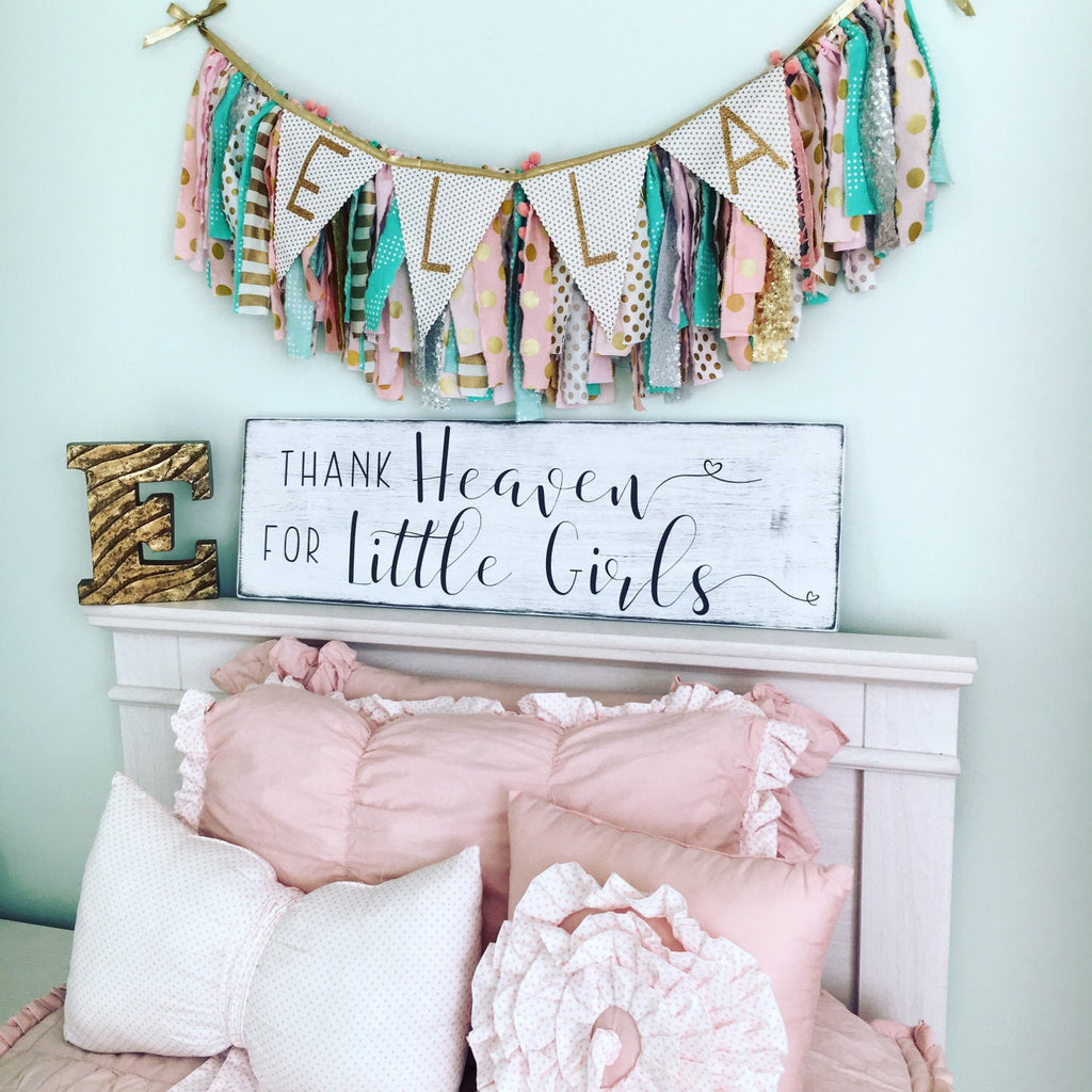 Thank heaven for little girls wood sign coastal crafty mama for Signs for little girl rooms