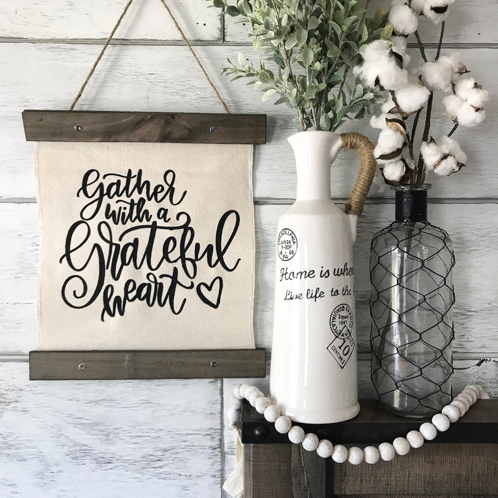 "Gather With a Grateful Heart Canvas Banner- 12x14"" - CoastalCraftyMama"