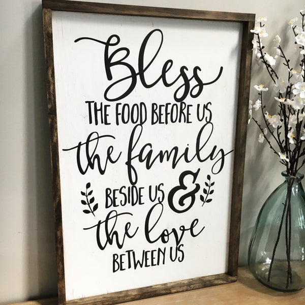 "Bless the Food Before Us Wood Sign 20x30"" White - CoastalCraftyMama"