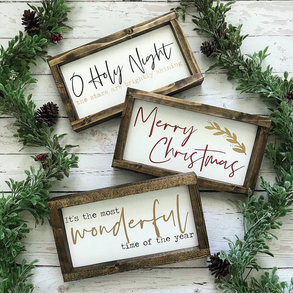 Reversible Fall/Christmas Framed Wood Sign 12.5x7""