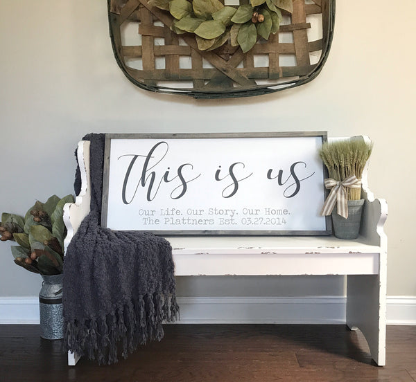 "This is Us Personalized Framed Wood Sign 39x18"" Gray - CoastalCraftyMama"
