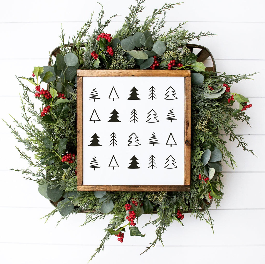 Simple Christmas Trees Framed Wood Sign 13x13""