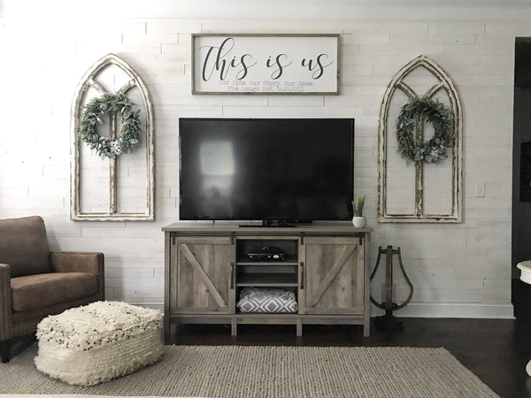 "This is Us Personalized Framed Wood Sign 39x18"" Gray"