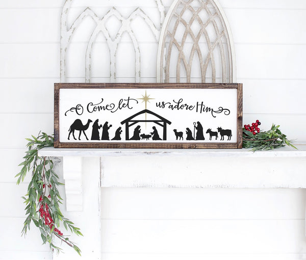Nativity Scene Framed Wood Christmas Sign- 24x9