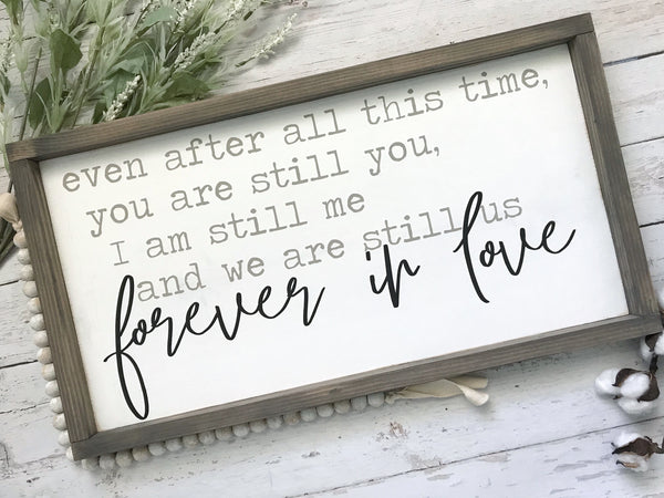 "Forever in Love Framed Wood Sign 13x24"" White - CoastalCraftyMama"