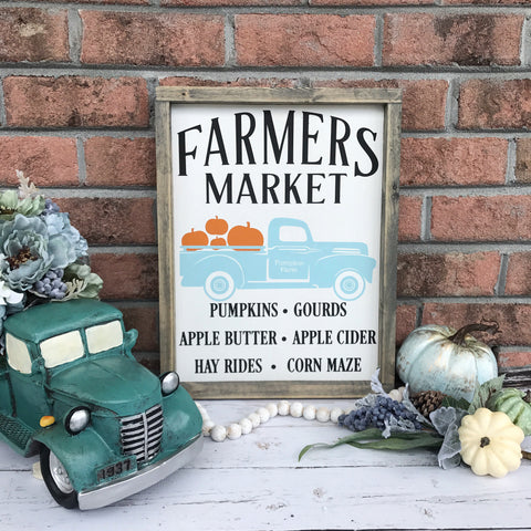 "Fall Farmer's Market Vintage Truck Wood Sign 13x17.25"" White"