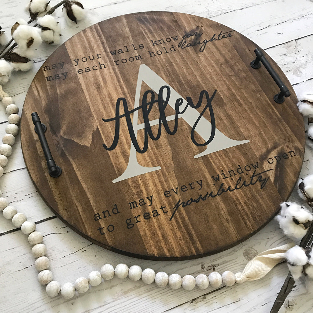 Personalized Wood Serving Tray— Realtor Closing Gift Idea Walls Know Joy Quote